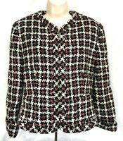 Jones New York Womens Black Red White Wool Blend Blazer Jacket Sz 8