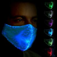 LED Rave Fiber Face Mask Unisex - Rechargable 7 Colors Display Party Glowing