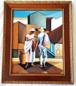GINA ARAMBASIC (b.1932), Survivor, Bahian Brazil Cubist, Original Oil, 1979