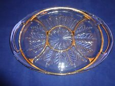 Vintage Jeanette Heavy Glass Divided Platter with Handles Gold Trim
