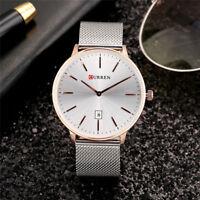 CURREN Men's Watch Steel Mesh Band Round Dial Business Analog Quartz Wristwatch