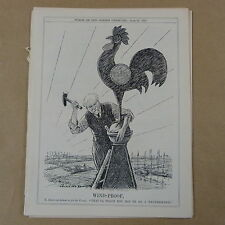 """7x10"""" punch cartoon 1928 WIND PROOF poincare / franc - weathercock"""