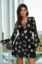 Sexy Black Fit Flare Floral Dress 10 Skater V Neck Long Sleeve Daisy Tea Party