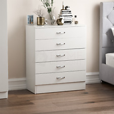 Riano White 5 Drawer Wood Chest Metal Handles Bedroom Storage Furniture