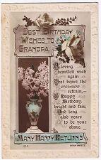 Best Birthday Birthday Wishes to Grandpa - Vintage Postcard - Norwich 1923