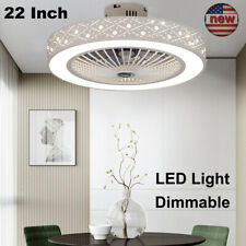 22'' Round Ceiling Fan Light Remote Control Dimmable LED Lamp Living Room Office