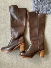 POSTE MISTRESS BROWN LEATHER HIGH HEEL BOOTS SIZE UK 3 EUR 36