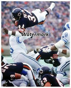 NFL 1984 Sweetness Walter Payton Chicago Bears Over Top TD Color 8 X 10 Photo