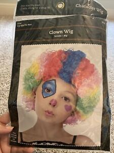 Child Children's Rainbow CLOWN WIG Curly Afro circus carnival disco football