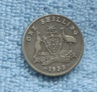 1933 Sterling Silver Shilling Coin Strong Advance Australia B-578