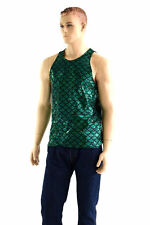 LARGE Mens Green Mermaid Scale Spandex Muscle Tank Shirt Ready To Ship!