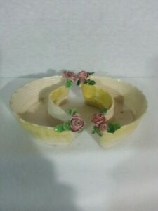 Vtg Set of 2 Small Trinket Bowls Crescent Shape Cream Yellow Pink Roses Italy