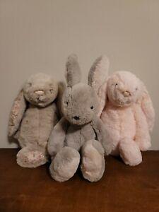 Jellycat Bashful Bunnies Lot Of 3 Soft Plush Stuffed Animals