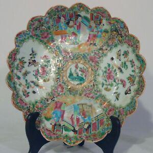 "Antique Chinese Rose Medallion Famille Porcelain Scalloped Bowl 10 1/2"" 9th C"