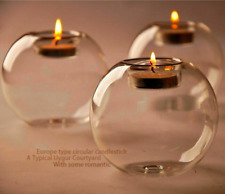 Novelty Round Crystal Glass Candle Holder Wedding Bar Party Dinner Candlestick