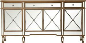 CREDENZA SIDEBOARD CONTEMPORARY BRUSHED STEEL GOLD BLACK SOLID WOOD MIRRO