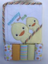 6 Piece Bath Set Baby Infant Hooded Towel Washcloth Yellow Duck Boy Girl NEW