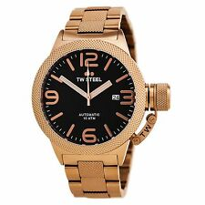 TW Steel Men's CB175 Canteen Automatic 45 mm Rose Gold-Tone Black Dial Watch