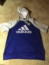 Adidas Womens Atheltics Fashion Short Sleeve Hoodie NWT Grey / Blue Large