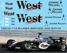 1/18  McLAREN MERCEDES MP4/20 2005 DECALS TB DECAL TBD220