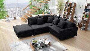 Modernes Sofa Couch Ecksofa Eckcouch in Gewebestoff schwarz mit Hocker Minsk L