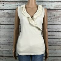 Lauren Ralph Lauren Ruffled Crochet Surplice Tank Top Shirt LARGE Cream Ivory