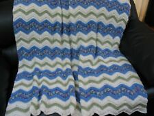 "AFGHAN BLANKET THROW - CLASSIC RIPPLE - PERIWINKLE/WHITE/GREEN - 55"" X 68"" - NEW"