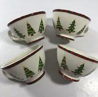 Harry & David 4pc Christmas Tree 2007 Red Green Tea Coffee Cups Set of Four