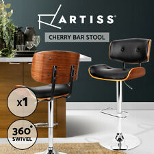 Artiss Wooden Bar Stools Bar Stool Kitchen Chair Dining Black Pad Gas Lift 8045