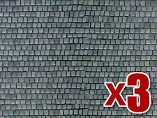 3x Cobblestone Pavement Cardboard - Vollmer 46041 - OO/HO decor -free post