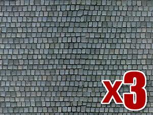 3x Cobblestone Pavement Cardboard - Vollmer 46041 - OO/HO decor