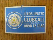 Circa anni 1980 Leeds United: CLUB CARD chiamata [Dimensione Carta di Credito/Stile]. Tutina progs/