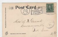 boston west somerville station 1906  stamps cover ref 13194