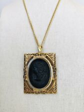 Vintage Large Coro Black Cameo Pin Brooch Necklace