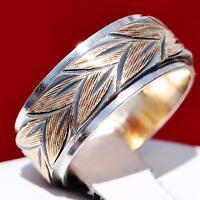 1930's Keepsake size 7 handmade 14k multi tone gold 8mm wedding band ring 8.0gr