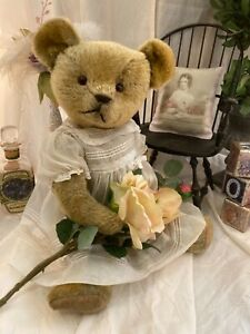 "20"" PRECIOUS ANTIQUE 1910s AMERICAN IDEAL TEDDY BEAR IN WHITE DRESS"