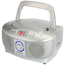 Groov-e Mini Boombox portatile CD LETTORE CON RADIO - argento gvps723sr