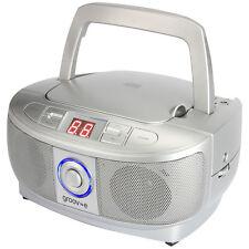 Groov-e Mini Boombox Portable CD Player with Radio - Silver  GVPS723SR