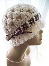 Cream Handmade Cotton Cloche 1920s Flapper Sun Hat