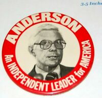 Anderson for President 1980 Third Party Red Lithographic Pinback Button John B