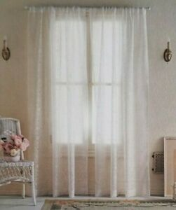 "Simply Shabby Chic Cream Damask Burnout Sheer Panel 54"" x 84"" NIP"