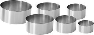 6 x Coppa pasta in acciaio Inox di misure diverse, Ideale per impiattare, 5-12cm