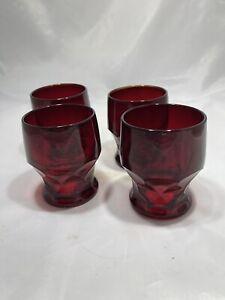 Set of 4 Vintage Ruby Red Georgian Honeycomb Tumblers Footed 8 oz.