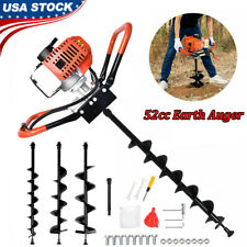 New Listing52cc Gas Powered Earth Auger Post Hole Digger Borer Fence Ground 3 Drill Bits