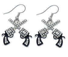Western Movie Cowboy Cowgirl Double Crossing Revolver Gun Pistol Hook Earrings