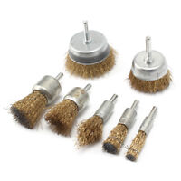 Drill Wire Brush Wheel Cup Set Metal Cleaning Rust T Sanding 7Pcs