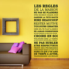 Wall Sticker Art Home Decoration House Rules Quote French