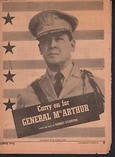 Carry On For General MacArthur 1942 Los Angeles Times Supplement Sheet Music