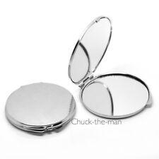 Portable Folding Makeup Mirror Round Silver tone Compact pocket purse Signal Sos