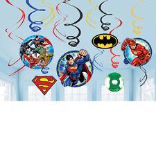 JUSTICE LEAGUE BATMAN SUPERMAN FLASH PARTY CUTOUTS HANGING DECORATION X 12